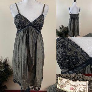 Glam Vintage Soul Retro Grunge  Silk Slip Dress